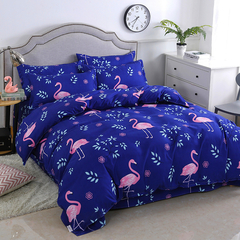 4 piece bedding set (1 quilt set + 1 sheet + 2 pillowcases) fashionable flamingo cotton gauze sheets flamingos 200cmX230cm