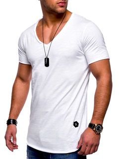 New men's casual solid color T-shirt V-neck short-sleeved solid color shirt casual T-shirt white M