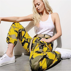 Loose street camouflage tooling denim casual pants harem pants sport breathable cotton trousers rose Red XXXL
