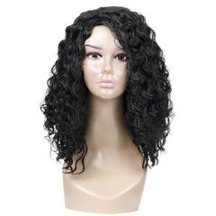 New ladies fashion small curly long bangs wig black 38 cm