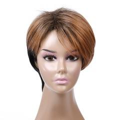 New ladies fashion short hair oblique bangs natural realistic wig black + light brown 25 cm