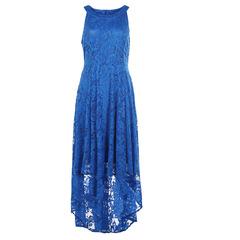 Sexy Slim Round Neck Sleeveless High Lace Cutout Dress Womenswear blue s