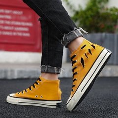 High-top canvas shoes male ins street beat Harajuku ulzzang casual shoes men's tide Ginger yellow 39