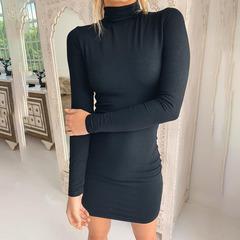 New high collar long sleeve sexy slim bag hip dress stand collar pencil skirt women's clothing black s
