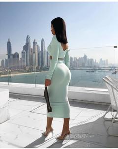 Fashion Slim V-neck Dress Cotton Pit Long Sleeve Two-piece Set Halter Women's Step Skirt Mint Green s