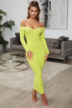 Sexy Slim Pack Hip V-neck Long Sleeve Cotton Thread Long Skirt Open Back Dress green s