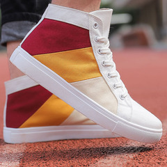 Large size men's shoes 2019 high to help men's casual shoes shoes color canvas shoes tide shoes white 39