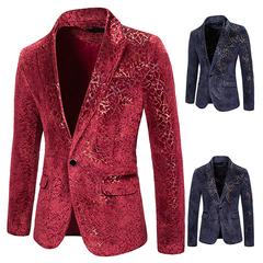 New Lightning bronzing performance nightclub men's clothing ceremonial photo studio coat slim suit red xl