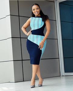 Fashion Slim Print Stripe S-Splicing Bag Hip OL Commuter Large Size Round Neck Sleeveless Dress m Dark blue
