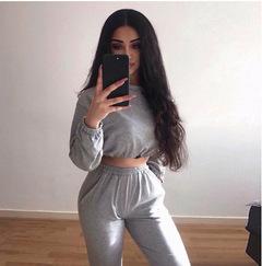 Women's fashion slim long-sleeved shirt trousers two-piece casual tide brand women's clothing gray S