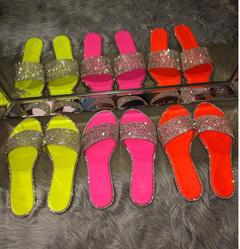 New fashion explosion models set with diamonds flat slippers women's shoes sandals yellow 38