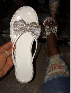 2019 popular women's shoes diamond flat sandals fashion sexy bow flat slippers white 41