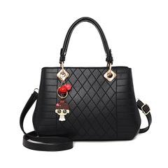 Women's bag new fashion big bag Europe and America shoulder bag Messenger bag ladies bag handbag black 24*14*20 cm