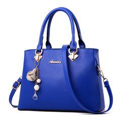Women's new women's bag simple fashion handbag trend single shoulder slung big bag bell diamond bag bright blue 30*12*21 cm