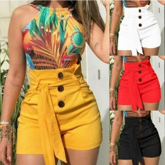 Europe and the United States hot women's shorts Slim fashion sexy high waist belt beach shorts red 3xl