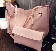 Female bag mother bag lychee handbag handbag fashion large capacity shoulder diagonal package pink One size