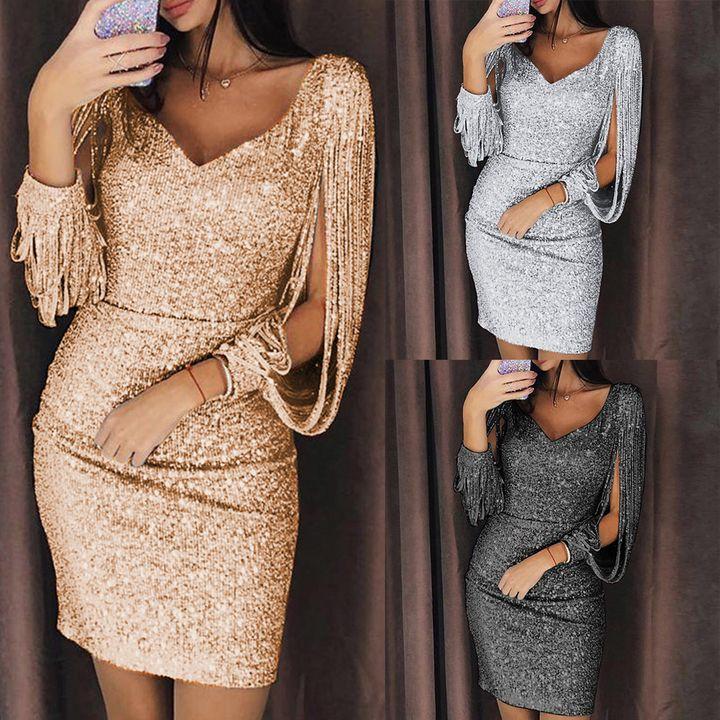 Best selling explosions bag hip skirt Sexy nightclub sparkling V-neck tassel lantern sleeve dress Gold 3xl