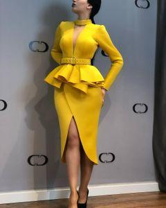 Women's new long-sleeved space layer mesh V-neck open dress long-sleeved irregular skirt blue m