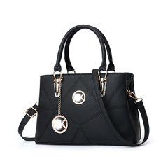 Large handbag, shoulder bag, simple ladies bag, diagonal bag, PU leather, fashionable ladies bag black 31*13*20 cm