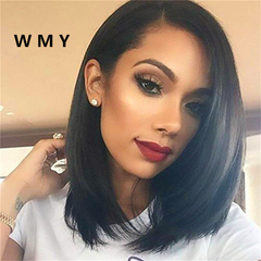 Bob Wigs Short Straight Synthetic Hair Full Wigs for Women Natural Looking Heat Resistant Black 37cm/14.56 inch