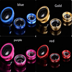 Universal 3-in-1 Clip-on Mobile Camera Lens Set Fisheye Macro Wide-angle External Clip Lens 3-in-1 Gold 3 in 1 3 in 1 60