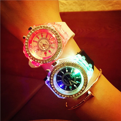 LED Luminous Fashion Ladies Shiny Rhinestone Outdoor Watch Women's Men colorful Sports WristWatches  Pink