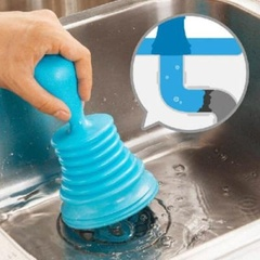 COCO Functional Kitchen Bathroom Toilet Sink Plunger Blocked Drain Unblock Pipeline Dredge Cleaner blue one size