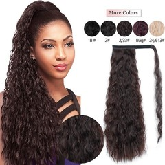Corn Wavy Long Ponytail Synthetic Hairpiece Wrap on Clip Hair Extensions Ombre Brown Ponytail Blonde 2-33# 22 Inches