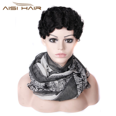 Short Curly Black Cute Wig for Women Afro Hair Synthetic Wigs For Women Heat Resistant black 2 inches