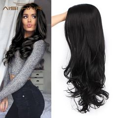 Black Wavy Wigs for Women Long Curly Wig Synthetic Party Wigs Middle Part Full Wigs Natural Looking black 20 inches