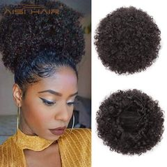 Synthetic Curly Hair Ponytail Short Afro Kinky Curly Wrap Drawstring Puff Ponytail Extensions Wig 2# Medium