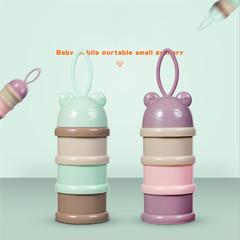 3 layer Frog Style Portable Baby Food Storage Box Milk Powder Boxes Formula Milk Container purple 7.5*24cm