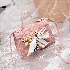 New simple female bag shoulder Messenger bag retro casual small fresh lock small square bag pink one size