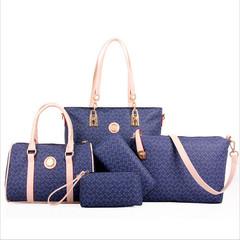 Bone pattern five-piece set PU leather shoulder messenger bag ladies large-capacity handbag blue one size