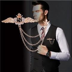 New Fashion Gold Crystal Angel Wings Tassel Crown Men's Brooch Women Men Gifts Accessories