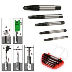 5Pcs Steel Broken Speed Out Damaged Screw Extractor Drill Bit Guide Set Broken Bolt Remover black as shown in the picture