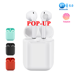 New i12 tws Wireless Bluetooth 5.0 Super Bass Earphones Earbuds High Quality Touch black