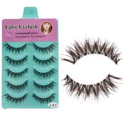 sunRiseAtSea 5 pairs/set Messy Cross Thick Natural 3D Fake Eye Lashes(L-27) black