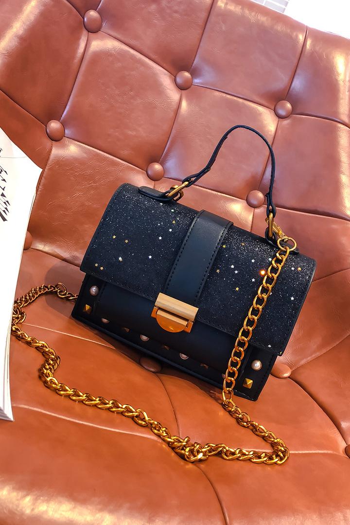 Fashion Woman Bag handbag Sequined Rivet Chain Single Shoulder Bag Black One Size