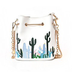 Women bag with Strap Bucket Bag Women PU Leather Shoulder Bags Crossbody messenger Bags White Normal