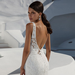 Women long Wedding Dress Lace Halter Party Dress Backless Sleeveless Dresses Vacation Wear as picture s
