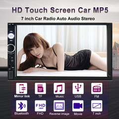 2 Din Car Radio,7 Inch HD 1080P Touch Screen Head Unit,Car Receiver MP5/4/3 Video BT Player (7023B)