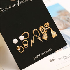 6 Pairs /Set Pearl Shell Feather Lightning Earring Stud For Gift a06-01-11 as picture