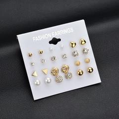12 Pairs/ Set Square Zircon Earrings Diamond  Heart Stud Fashion Women Jewelry gold normal