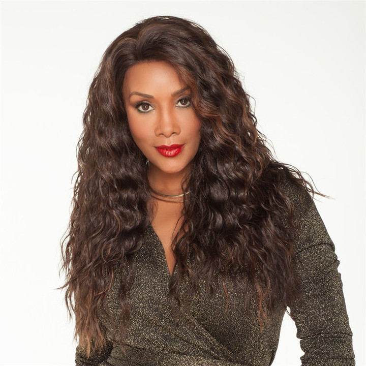 Fast delivery Long Brown Curly wave  wigs women high temperature silky fiber hair dark brown 26inch