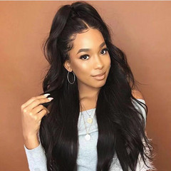 Limited Offer Wig Ladies Body Wave Black Long Curly Hair Fashion Hair Wigs black 26inch