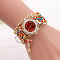 Hand Woven Chain Loop Bracelet Watch  Key Pendant Diamond Watch Lady Special Gift red