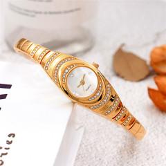 New Elegant Rippling Diamond-Encrusted Watch Lady  Women Watch Pearl Face Bracelet Female Watch gold