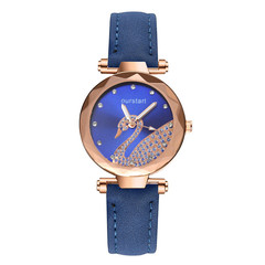 2019 Latest New Swan Watch  Star Watch Diamond Women Gift Watch Abrasive Belt Watches Ladies blue