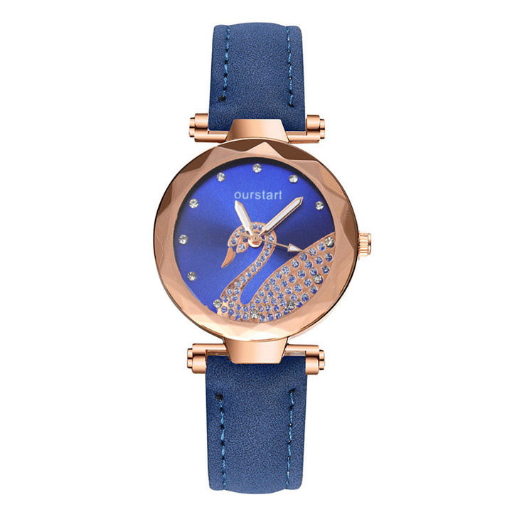 2019 Latest New Swan Watch  Star Watch Diamond Women Gift Watch Abrasive Belt Watches Ladies blue
